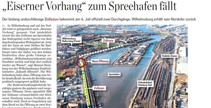 """""""Eiserner Vorhang"""" zum Spreehafen fällt HA Juni 2010"""