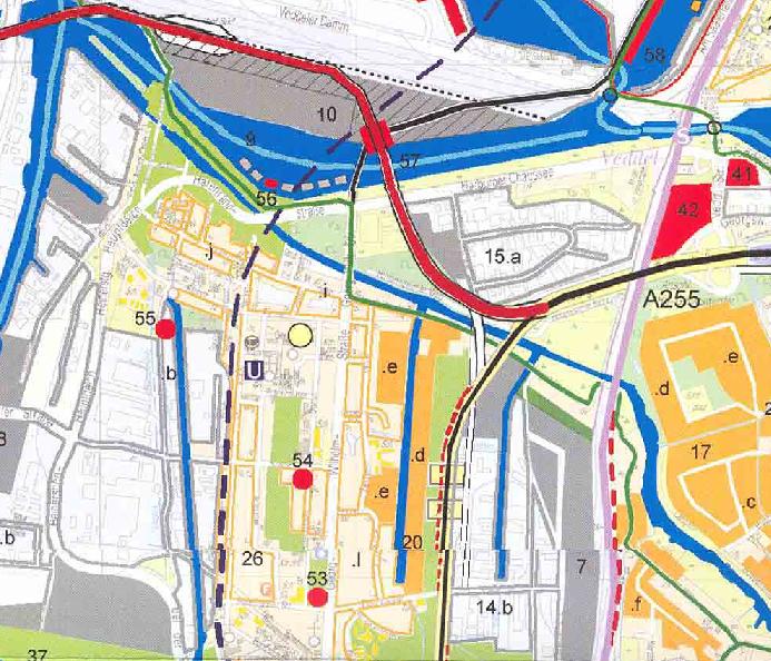 Auch der Unternehmensverband Hafen verweist ausdrücklich auf den Plan der Handelskammer von 2004 - (Ausschnitt) Vorgesehen ist Wohnungsbau beiderseits des Assmannkanals
