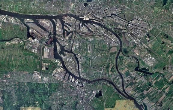 Satellitenbild der Elbinsel Wilhelmsburg