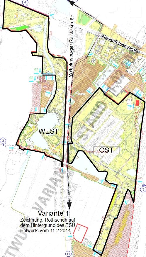 Variante 1: Westpark-Ostpark Grenzen nach Entwurfsvariante 1 des Bezirks Mitte - Bearbeitung Michael Rothschuh
