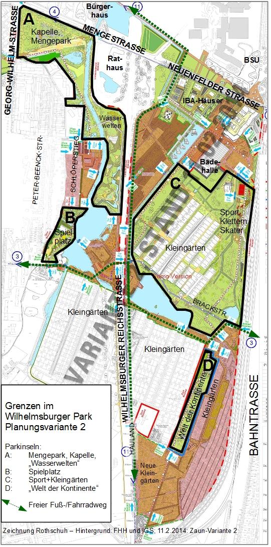 Grenzen im Wilhelmsburger Park nach Variante 2 der Variante 2: Vier Parkinseln Bezirks-Entwürfe  Bearbeitung Michael Rothschuh