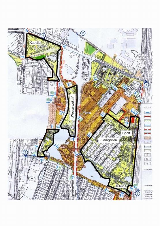 Grenzen im Wilhelmsburger Inselpark - Bezirksplanung vom 6.5.2014 (Zeichnung Rothschuh, Hintergrund: öffentliche Folie des Bezirks Mitte)