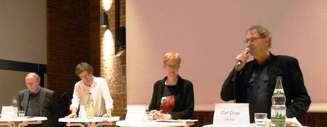 Wahlprüfstand mit: Olaf Duge, GRÜNE, Kurt Duwe, FDP,  Dirk Kienscherf, SPD, Heike Sudmann, LINKE - Moderation: Hartmut Sauer