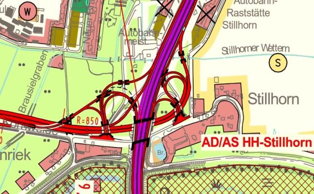 geplante Anschlusstelle an die A1 in Stillhorn - direkt neben der Großsiedlung Kirchdorf-Süd und dem Naturschutzgebiet Heuckenloch