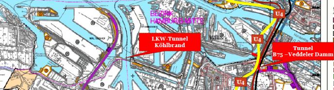 Köhlbrandquerung und Tunnel Veddeler Damm - B75
