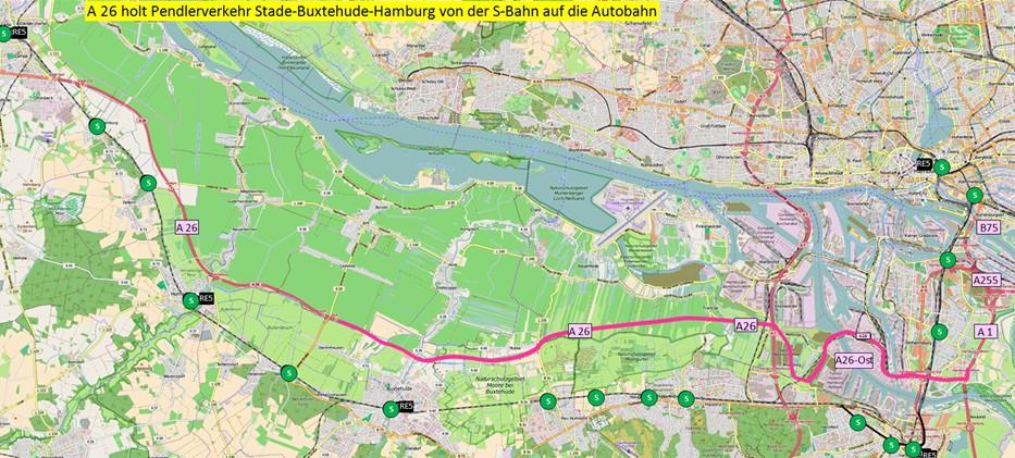 Parallelität und Konkurrenz zwischen S-Bahn und A-26