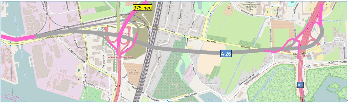 Tunnel (Deckel) für die gesamte A26 in Wilhelmsburg