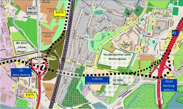 Querspange - Planung im Bereich Wilhelmsburg
