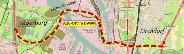 Material: A26-Ost/Hafenquerspange im Bundesverkehrswegeplan