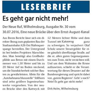 """6. August 2016, Leserbrief aus """"Neuer Ruf"""" Nr. 31, Seite 3"""